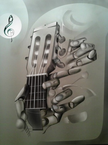 """Painting titled """"hand with guitar"""" by Evaldo Amatizi, Original Art, Other"""