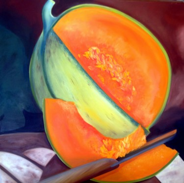 """Painting titled """"melon"""" by Evelyne Deuil, Original Art,"""
