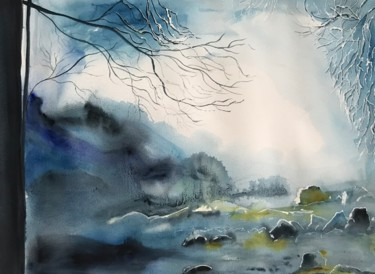 """Painting titled """"Cold winter"""" by Ewa Helzen, Original Art, Watercolor"""