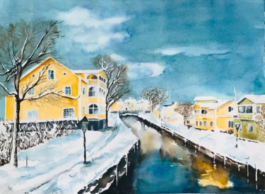 """Painting titled """"Winter day in Sweden"""" by Ewa Helzen, Original Art, Watercolor"""