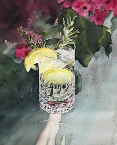 """Painting titled """"A cold GT"""" by Ewa Helzen, Original Art, Watercolor"""