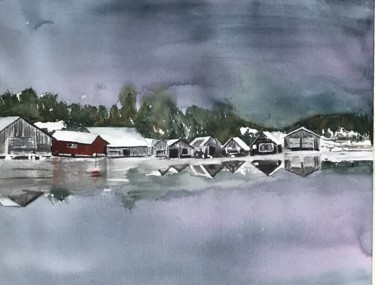 """Painting titled """"Boathouses in  Alan…"""" by Ewa Helzen, Original Art, Watercolor"""