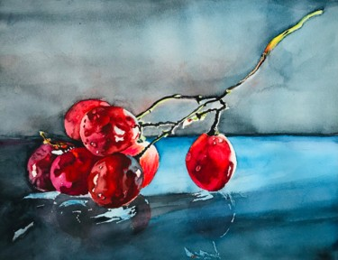 """Painting titled """"Some grapes"""" by Ewa Helzen, Original Art, Watercolor"""