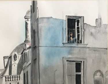 City Painting, watercolor, conceptual art, artwork by Ewa Helzen
