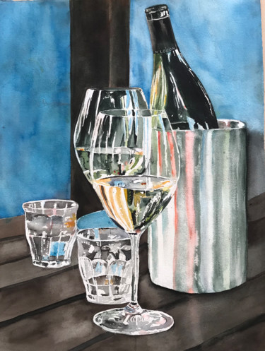 """Painting titled """"On my dinner table"""" by Ewa Helzen, Original Art, Watercolor"""