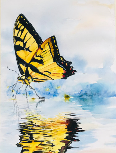"""Painting titled """"Reflection in water"""" by Ewa Helzen, Original Art, Watercolor"""
