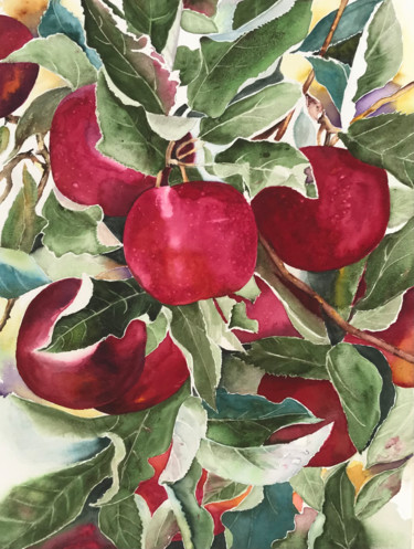 """Painting titled """"Apple time"""" by Ewa Helzen, Original Art, Watercolor"""