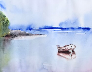 """Painting titled """"Small bout in the b…"""" by Ewa Helzen, Original Art, Watercolor"""