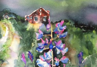 """Painting titled """"a-house-in-the-coun…"""" by Ewa Helzen, Original Art,"""