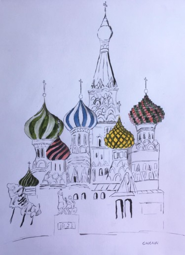 """Painting titled """"Cathedrale St Basil…"""" by Ewenn H, Original Art, Ink"""