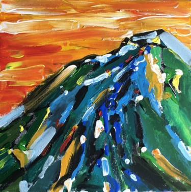 Mountainscape Painting, acrylic, impressionism, artwork by Алеся Ким