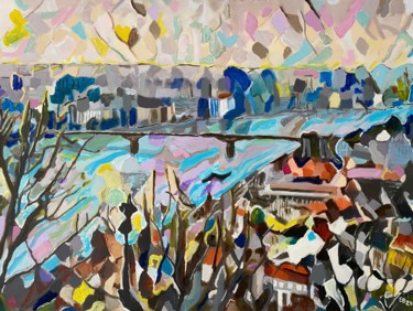 """Painting titled """"Danube"""" by Ezra Bejar, Original Art, Acrylic Mounted on Stretcher frame"""