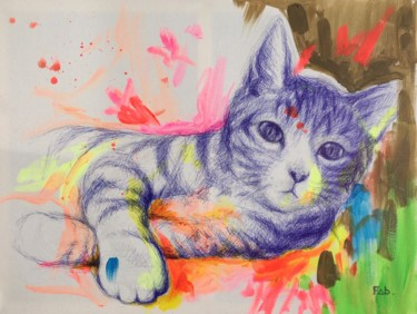 Cat Painting, ballpoint pen, expressionism, artwork by Fabienne Perrel