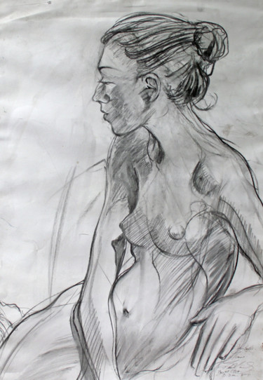 """Drawing titled """"Female nude life dr…"""" by Fraser Maciver (1960 - 2019), Original Art, Charcoal"""