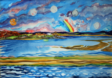 """Painting titled """"Five Moons of the G…"""" by Fraser Maciver (1960 - 2019), Original Art, Watercolor"""