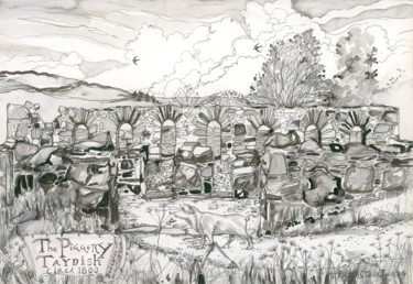 """Drawing titled """"The Piggery, Taynish"""" by Fraser Maciver (1960 - 2019), Original Art, Ink"""