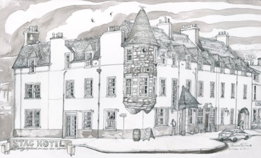 """Drawing titled """"The Stag Hotel, Loc…"""" by Fraser Maciver (1960 - 2019), Original Art, Ink"""