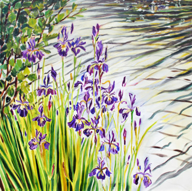 """Painting titled """"The Wagon Irises"""" by Fraser Maciver (1960 - 2019), Original Art, Oil"""