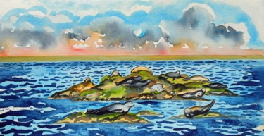 """Painting titled """"Islay Suite - Seals…"""" by Fraser Maciver (1960 - 2019), Original Art, Watercolor"""