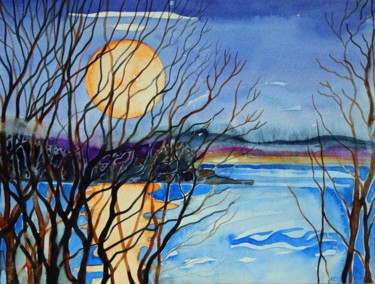 """Painting titled """"The March Moon from…"""" by Fraser Maciver (1960 - 2019), Original Art, Watercolor"""