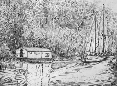"""Drawing titled """"Crinan Canal - The…"""" by Fraser Maciver (1960 - 2019), Original Art, Ink"""