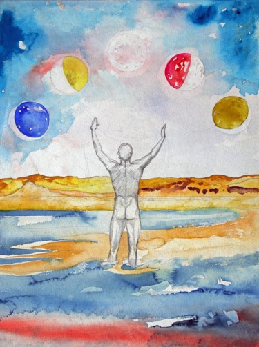 """Painting titled """"Five Moons of the G…"""" by Fraser Maciver (1960 - 2019), Original Art, Pencil"""