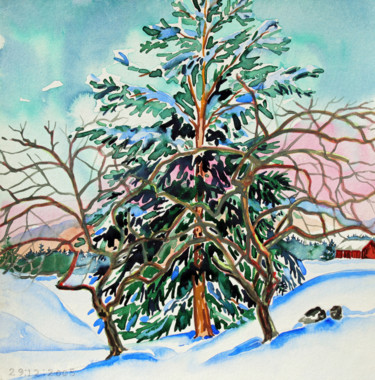 """Painting titled """"Finland Suite - Tre…"""" by Fraser Maciver (1960 - 2019), Original Art, Watercolor"""
