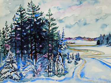 """Painting titled """"Finland Suite - Fie…"""" by Fraser Maciver (1960 - 2019), Original Art, Watercolor"""
