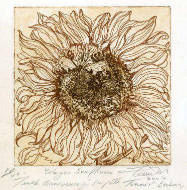 """Printmaking titled """"The Wagon Sunflower"""" by Fraser Maciver (1960 - 2019), Original Art, Etching"""