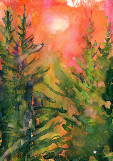 """Painting titled """"Firtree with pink b…"""" by Fraser Maciver (1960 - 2019), Original Art, Watercolor"""