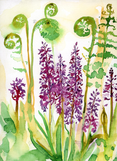 """Painting titled """"Early Purple Orchid…"""" by Fraser Maciver (1960 - 2019), Original Art, Watercolor"""