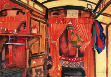 """Painting titled """"Interior of The Wag…"""" by Fraser Maciver (1960 - 2019), Original Art, Watercolor"""