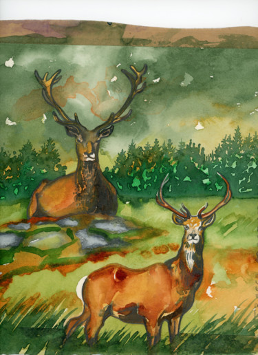 """Painting titled """"Islay Suite - Stags"""" by Fraser Maciver (1960 - 2019), Original Art, Watercolor"""