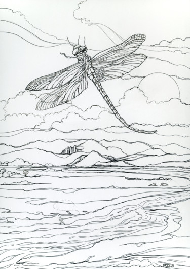 """Drawing titled """"The Wagon Dragonfly"""" by Fraser Maciver (1960 - 2019), Original Art, Ink"""