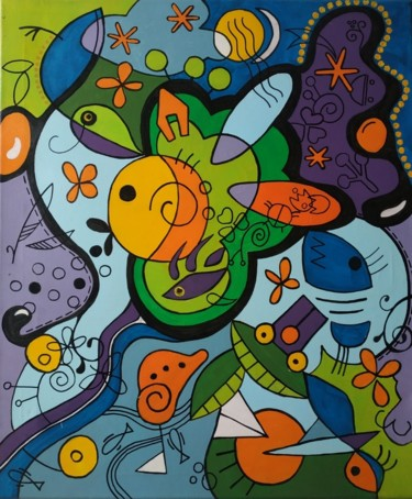 Graffiti Painting, acrylic, abstract, artwork by Florence Oulhiou