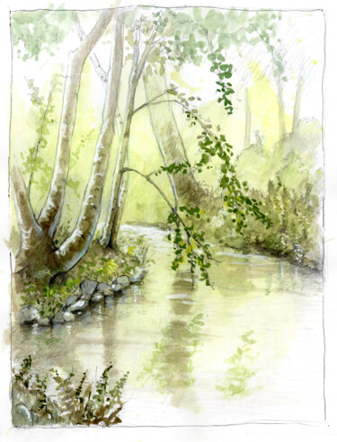 """Drawing titled """"Domaine Joly (parc)"""" by Fabrice Boulanger, Original Art, Watercolor"""