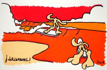 """Drawing titled """"players"""" by Fabrice Réhel, Original Art,"""
