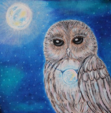 """Painting titled """"Owl and her own Moon"""" by Nadiia Morokhovets, Original Art, Acrylic"""