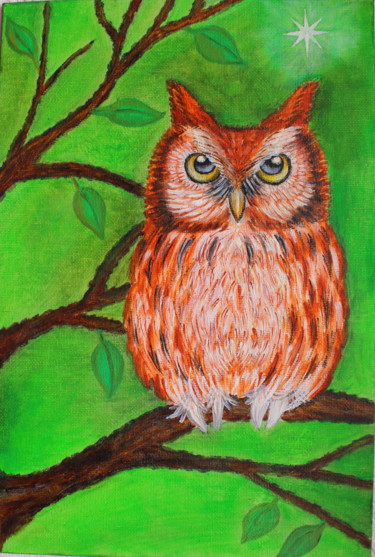 """Painting titled """"Owl on a branch"""" by Nadiia Morokhovets, Original Art, Oil"""