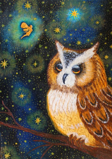"""Painting titled """"OWL AND FAIRY oil p…"""" by Nadiia Morokhovets, Original Art, Oil"""