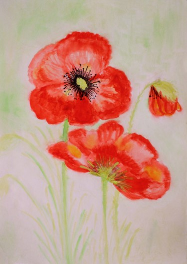 """Painting titled """"Red poppies artwork…"""" by Nadiia Morokhovets, Original Art, Watercolor"""