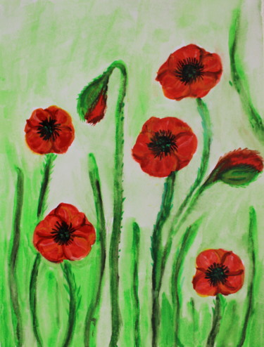 """Painting titled """"Red flowers poppies…"""" by Nadiia Morokhovets, Original Art, Watercolor"""
