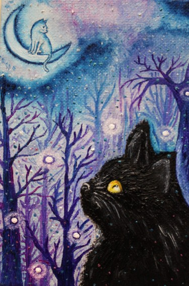 """Painting titled """"Black cat and moon…"""" by Nadiia Morokhovets, Original Art, Oil"""