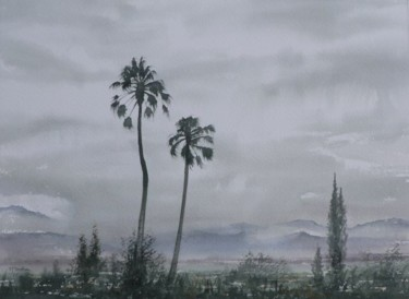 """Painting titled """"Palm trees in rain"""" by Frederick Featham, Original Art,"""