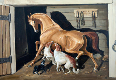 """Painting titled """"In the stable"""" by Фефа Королева, Original Art, Oil"""