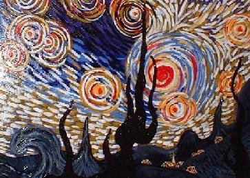 """Painting titled """"TRAIL OF LIGHTS"""" by Felix Borin, Original Art,"""