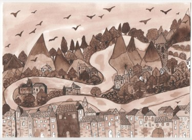 Mountainscape Painting, ink, illustration, artwork by Sophie Ferrandis (soffy)