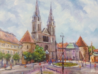 """Painting titled """"Zagreb Cathedral ac…"""" by Filip Petrovic, Original Art, Acrylic"""