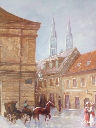 """Painting titled """"Zagreb carriage acr…"""" by Filip Petrovic, Original Art, Acrylic"""