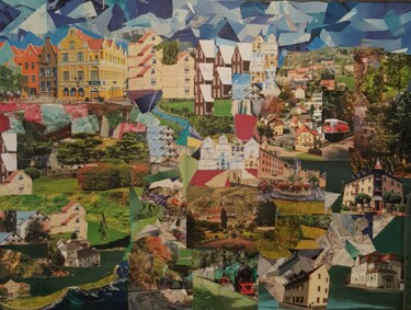 """Collages titled """"Puzzle Cidade Nórdi…"""" by Marta Afonso, Original Art, Collages"""